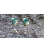 Pair Frosted Blue Glass Cordials Gold Viking Horsehead Ship, Tower, Bird... - $18.53