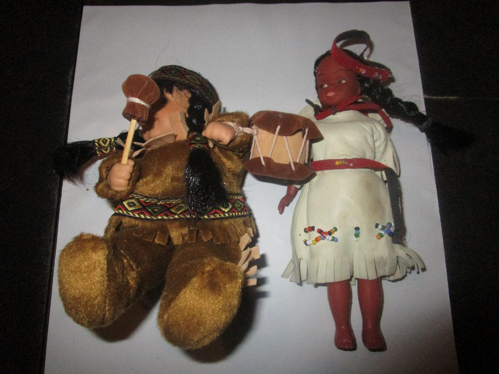 Native America 2 Small Dolls 1 Plastic 1 Porcelain