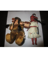 Native America 2 Small Dolls 1 Plastic 1 Porcelain - $5.87