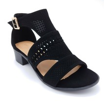 Top Moda Open Toe T-Strap Black Suede Flats Cushioned Insoles Sz 7 M NEW - $20.89