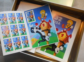 Complete Tin & Accessories Package Bugs Bunny Looney Tunes  Postage Stamps - $39.99