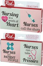 Nurses Work of the Heart Sayings 4 Piece Absorbent Ceramic Coaster Set