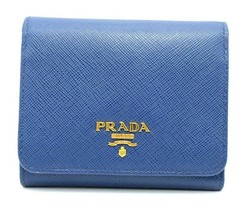 Authentic PRADA Leather Logo Wallet Women Purse Wallet Blue Trifold image 1