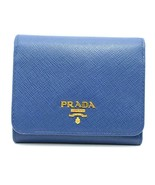 Authentic PRADA Leather Logo Wallet Women Purse Wallet Blue Trifold - $277.42