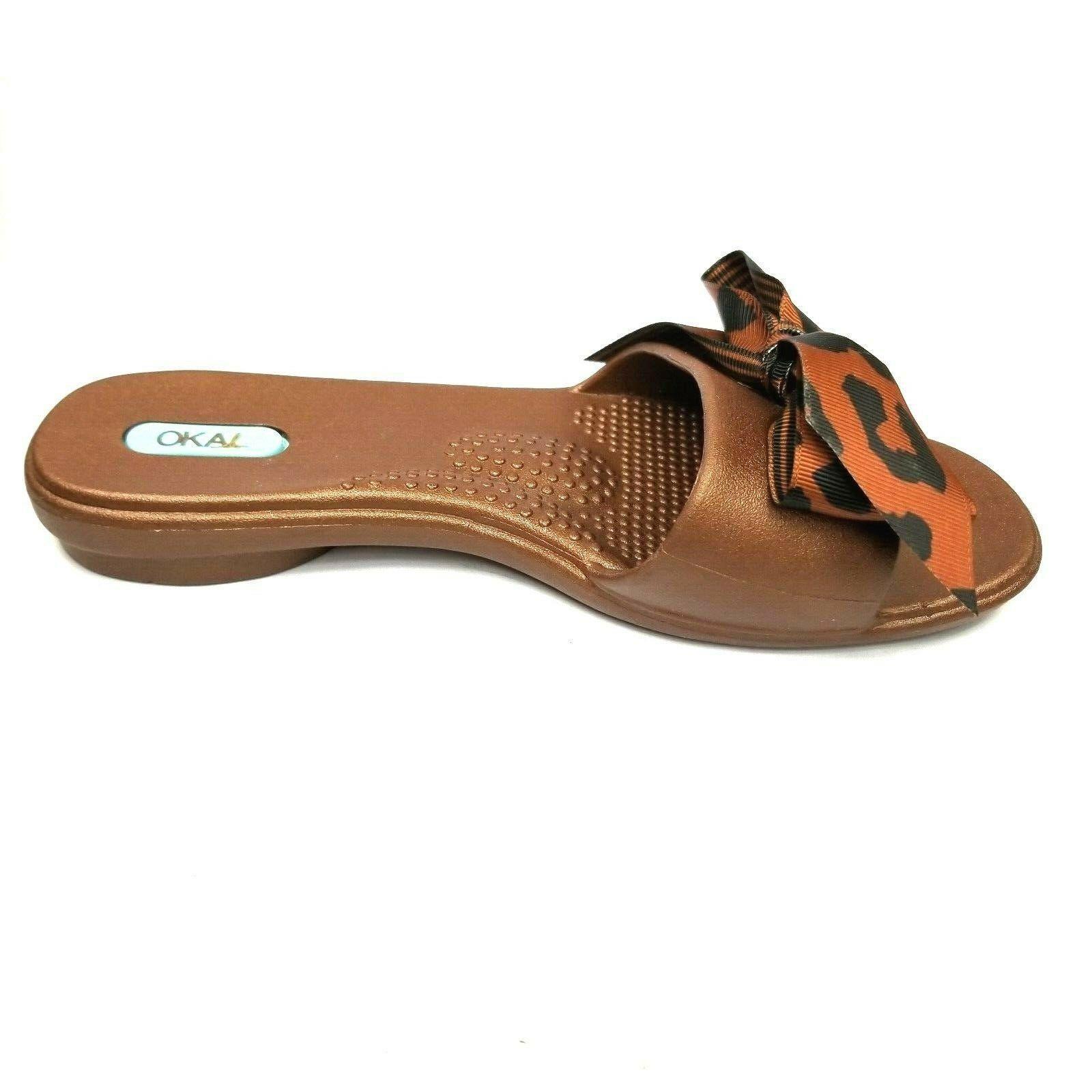 Oka B Womens Shoes Size Small Flip Flops Sandals Brown Animal Print Bow