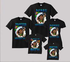 Moana Birthday Shirt Personalized Custom T-Shirt Kids and Family Black t... - $19.95+