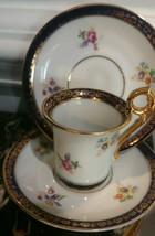 PM Porcelain Demitasse Cup Saucer. Gold &Cobalt Blue accents.Gold Crown Germany - $22.70
