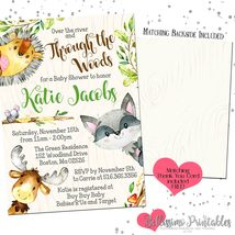 Woodland Animals Baby Shower Forest Animals Invitation PRINTABLE FREE Th... - £9.07 GBP