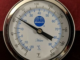 "Bradley Howe 0-200° F (0-90° C) 3"" Face Bimetal Thermometer 1/2"" Back Co... - $22.28"