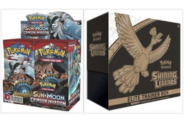 Sun & Moon Crimson Invasion + Shining Legends Elite Trainer Box Pokemon Sealed - $159.99