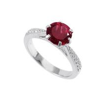 Silber Granat Band 8 MM Rund Granat Solitaire Ring Rot Granat Verspreche... - $44.07