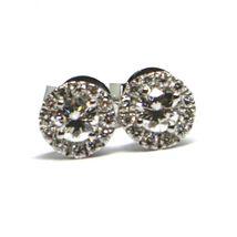 White Gold Earrings 750 18K, Central and Frame of Diamonds, 0.47 CT, Flower image 4
