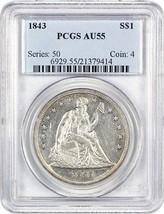 1843 $1 PCGS AU55 - Low Mintage Date - Liberty Seated Dollar - Low Minta... - $1,134.90