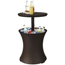 Outdoor Patio Pool Cocktail Table Cooler Bar in Brown Wicker Resin - €131,99 EUR