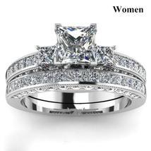 8mm Luxury Crystal Cubic Zirconia Stainless Steel Ring  Wedding Ring Set image 4