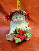 DREAMSICLE, Angel Cast Art Figurine, Kristin 1994 Flower Poinsettia Berries image 5