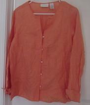 Liz Claiborne Women's Tunic 100% Linen SIZE-M COLOR-ORANGE Long Sleeve Solid New - $94.90