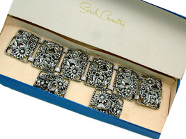 Sarah Coventry Bracelet & Earrings Set Floral Silver Tone ANTIQUE GARDEN... - $79.95