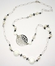 Long Necklace 1 MT Silver 925 with Hematite Agate and Pearls Made in Italy image 2