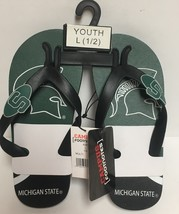 Michigan State Spartans Youth Flip Flops Sandals Shoes Sz L (1-2) image 2