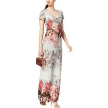 Adrianna Papell Dress Floral Print Matelasse Gown Ice Blue Multi Womens ... - $226.71