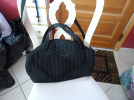 Vera Bradley large Black Microfiber handbag with detachable shoulder strap - $34.99
