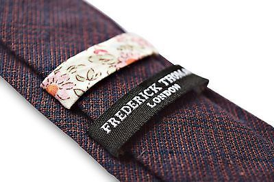Frederick Thomas blu navy e a Quadri Arancioni lana tweed Uomo Cravatta ft3365
