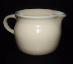Pfaltzgraff Aura Cream Colored Dairy Pitcher Pink & Blue Stripe Stoneware USA - $24.74