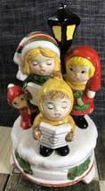 Christmas  Table Top Ceramic Family singing near light pole Working Musi... - $18.80