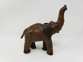 """Vintage Carved Wooden 7"""" Elephant with Leather Ears & Tail - Missing Tusks - $19.99"""