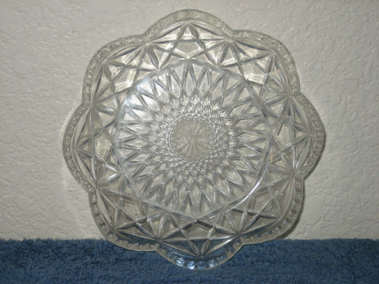 Vintage AVON Clear Glass Scalloped Beaded Candy Relish Nut Dish