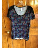 LuLaRoe Purple Blue Pink Geometric Print Short Sleeve Classic T Shirt XS - $13.86