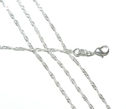 "CN425 Twisted Ripple 1mm Silver-Plated 16"" Chain Necklace with Lobster Clasp - $8.55"