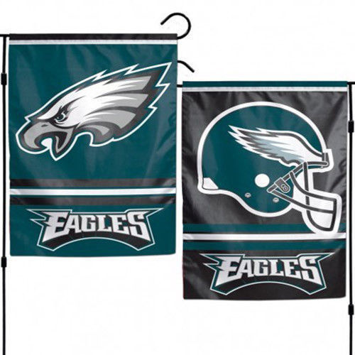 "PHILADELPHIA EAGLES TEAM GARDEN WALL FLAG BANNER 12"" X 18"" 2 SIDED NFL FOOTBALL"