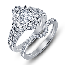 SIM Diamond White Gold Plated 925 Silver Engagement Bridal Ring Set Free Shipp - $89.05