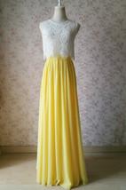 YELLOW High Waist Chiffon Skirt Wedding Chiffon Skirt Yellow Bridesmaids Outfit image 5