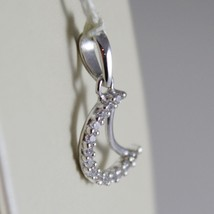 18K WHITE GOLD MINI MOON PENDANT, LENGTH 0.71 INCHES, ZIRCONIA, MADE IN ITALY  image 2