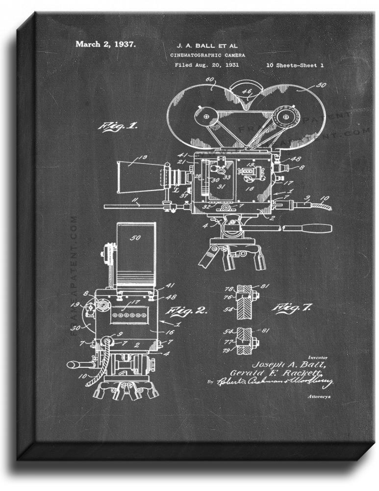 Primary image for Cinematographic Camera Patent Print Chalkboard on Canvas