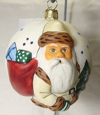 Vaillancourt Folk Art Jingle Ball White Santa Ornament