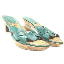 Nine West Womens Cork Slides Mules Sandals Green Leather 7.5M Wood Heel ... - $16.29