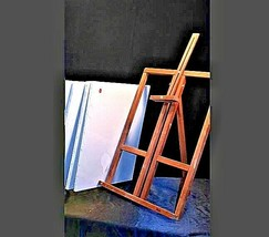 Vintage Wooden Desk Easel with 4 new canvasAA19-1432 image 2