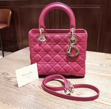 AUTH Christian Dior Lady Dior Medium Fuchsia Pink Cannage Lambskin Tote Bag
