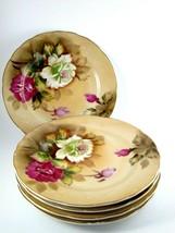 Vintage Lefton China Set of 5 Heritage Brown Rose Salad/Luncheon Plates  - $37.62
