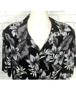 Mens NEW Caribbean Joe Black Gray Ivory FLORAL Hawaiian Camp Shirt XL Ra... - $19.99
