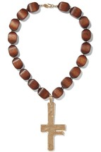 KENNETH JAY LANE KJL Gold tone hammered brown wood beaded pendant necklace - $113.85