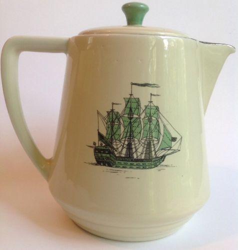 "Pitcher Sailing Ship Standard China Green Cream 7"" Tall Coffeepot Teapot"