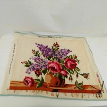 VTG Large 15x20 Woolen Needlepoint Tapestry Brown Vase Roses Flowers France - $47.51