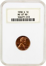 1938-S 1c NGC MS67 RD - Lincoln Cent - $189.15