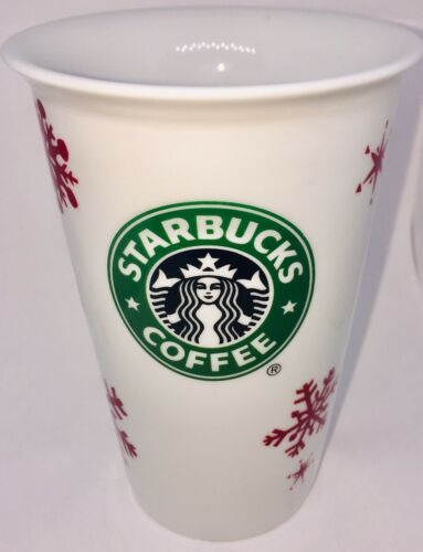 Primary image for Starbucks Mug 2010 Holiday Mermaid Tall Latte Red Snowflake Tumbler Christmas