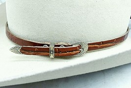ALLIGATOR HATBAND BROWN Genuine Exotic Skin with Buckle Set Cowboy Hat Band - $38.64